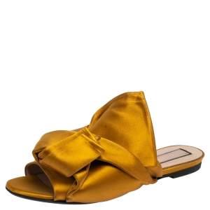 Nº21 Mustard Yellow Satin Knot Flat Mules Size 38