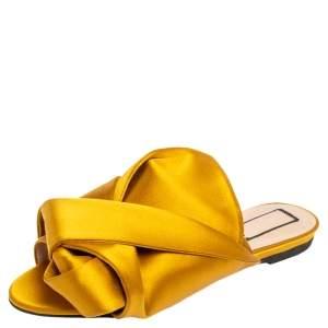 Nº21  Yellow Satin Knot Flat Mules Size 37.5