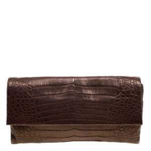 حقيبة كلتش نانسي غونزليز جلد نقش تمساح شيمرينغ برونزية