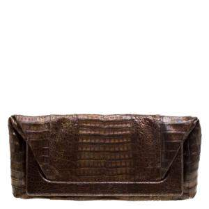Nancy Gonzalez Metallic Brown Crocodile Frame Foldover Clutch