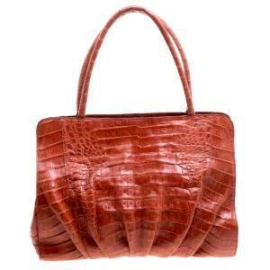 حقيبة نانسي غونزاليز جلد تمساح برتقالية محمرة
