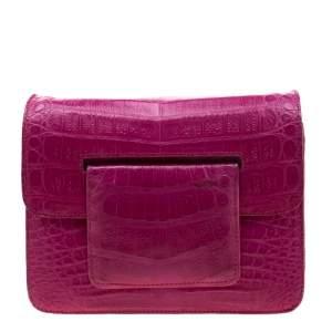Nancy Gonzalez Dark Pink Crocodile Crossbody Bag