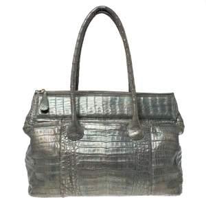حقيبة نانسي غونزاليز تمساح نمط مجسم/ رمادية