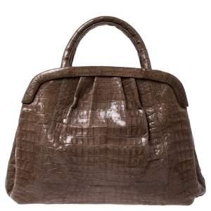 حقيبة نانسي غونزاليز جلد تمساح بني فاتح بإطار
