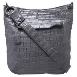Nancy Gonzalez Grey Crocodile Messenger Bag