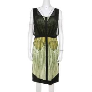 فستان نارسيسو رودريغيز بلا اكمام طبقات شبك ساتان أسود وأخضر M