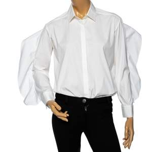 Neil Barrett White Cotton Ruffled Overlay Sleeve Detailed Masculine Fit Shirt M