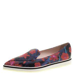 Nicholas Kirkwood Floral Print Leather Alona Pointed Toe Loafers Size 39.5