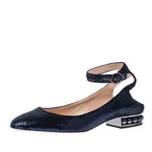 Nicholas Kirkwood Blue Sequins Lola Pearl Embellished Ankle Strap Sandals Size 40