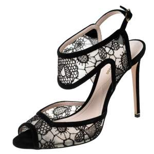 Nicholas Kirkwood Black Lace And Suede Leda Ankle Strap Sandals Size 38