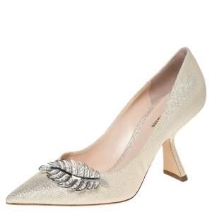 Nicholas Kirkwood Metallic Gold Glitter Fabric Monstera Pointed Toe Pumps Size 38