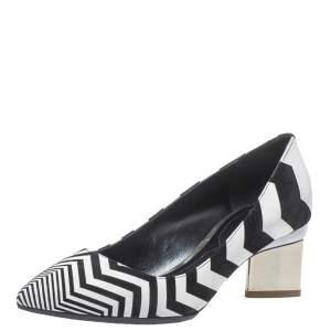 Nicholas Kirkwood Black/White Zigzag Print Leather Pointed Toe Pumps Size 35