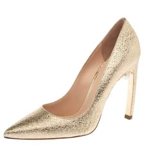 Nicholas Kirkwood Metallic Gold Leather Mira Pearl Curved Heel Pumps Size 38