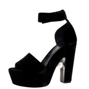 Nicholas Kirkwood Black Velvet Pearl Embellished Ankle Cuff Platform Sandals Size 38