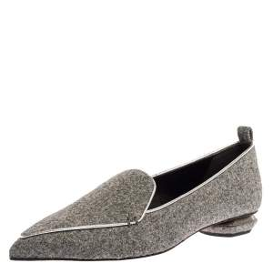 Nicholas Kirkwood Grey Felt Fabric Beya Pointed Toe Flats Size 40