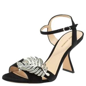 Nicholas Kirkwood Black Suede Monstera Crystal Embellished Sandals Size 39