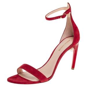 Nicolas Kirkwood Red Suede Mia Ankle Strap Sandals Size 40