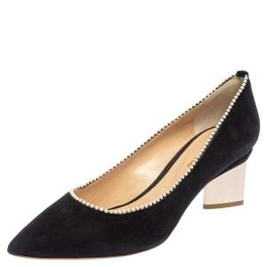 Nicholas Kirkwood Black Suede Pearl Embellished Pointed Toe Pumps Size 39.5