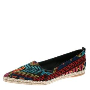 Nicholas Kirkwood Black/Multicolor Embroidered Twill Fabric Mexican Pointed Toe Espadrilles Size 39