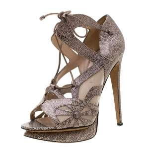 Nicholas Kirkwood Black/White Textured Leather and Mesh Lace Up Platform Sandals Size 39