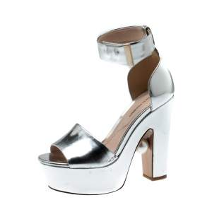 Nicholas Kirkwood Metallic Silver Leather Pearl Embellished Ankle Cuff Platform Sandals Size 36
