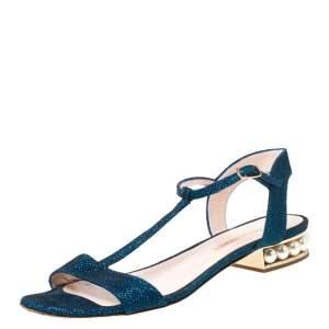 Nicholas Kirkwood Blue/Black Glitter Fabric T-Strap Casati Pearl Sandals Size 38