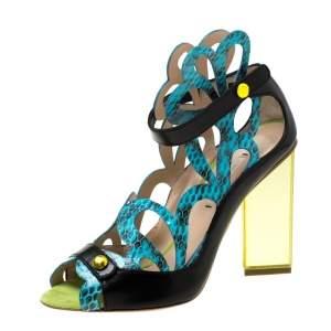Nicholas Kirkwood Multicolor Laser Cut Python Embossed and Leather Mirror Block Heels Sandals Size 39