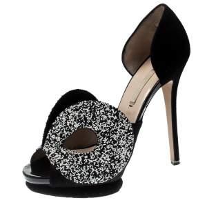 Nicholas Kirkwood Monochrome Suede Cut Out Peep Toe Platform Sandals Size 39