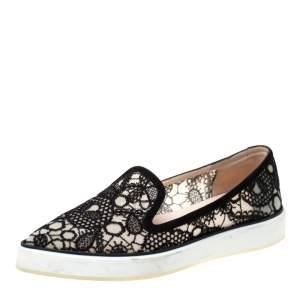 Nicholas Kirkwood Black Lace Alona Pointed Toe Platform Loafers Size 36