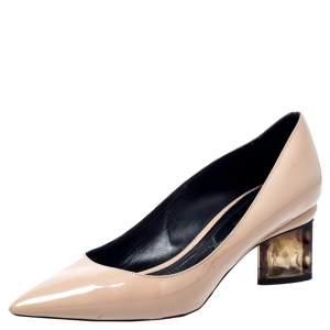 Nicholas Kirkwood Beige Patent Leather Pointed Toe Pumps Size 37
