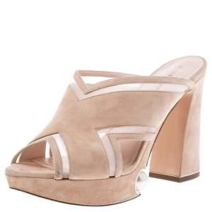 Nicholas Kirkwood Beige Suede Pearl Embellished Platform Open Toe Sandals Size 37.5