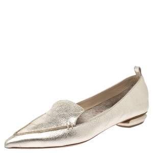 Nicholas Kirkwood Metallic Gold Leather Beya Loafers Size 36