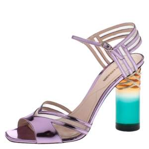 Nicholas Kirkwood Metallic Purple Leather And Mesh Lucite Heel Ankle Strap Sandals Size 40