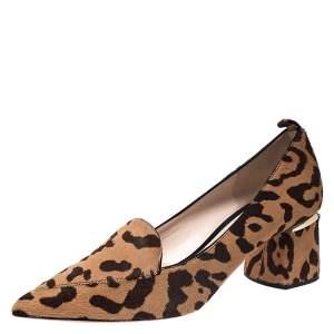 Nicholas Kirkwood Brown Leopard Print Pony Hair Beya Pointed Toe Pumps Size 39.5