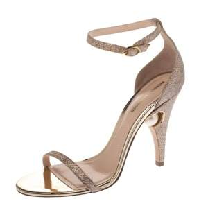 Nicholas Kirkwood Gold Glitter Fabric Penelope Pearl Ankle Strap Sandals Size 36