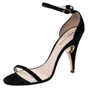 Nicholas Kirkwood Black Suede Penelope Pearl Ankle Strap Sandals Size 39.5