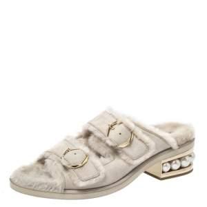 Nicholas Kirkwood Beige Suede And Fur Casati Pearl Heel Sandals Size 41