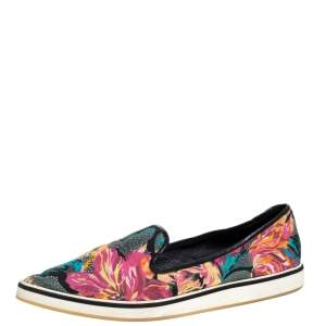 Nicholas Kirkwood Multicolor Floral Print Satin Alona Pointed Toe Slip On Sneakers Size 39