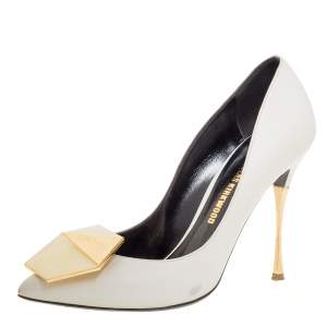 Nicholas Kirkwood White Leather Hexagon Pointed Toe Pumps Size 36