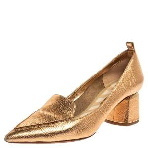 Nicholas Kirkwood Metallic Bronze Leather Pointed Toe Loafer Pumps Size 40