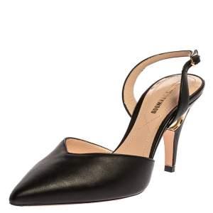 Nicholas Kirkwood Black Leather Mia Faux Pearl Embellished Slingback Sandals Size 35