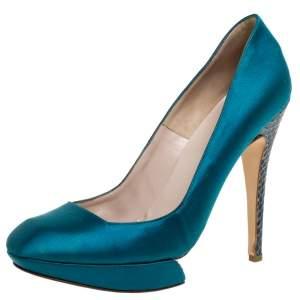 Nicholas Kirkwood Blue Satin And Python Leather Trim Heel Platform Pumps Size 38