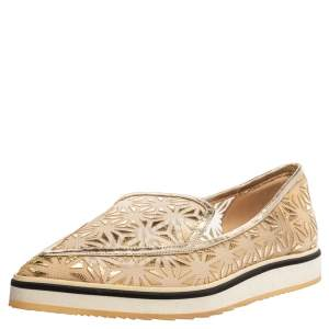 Nicholas Kirkwood Gold Laser Cut Mesh and Leather Alona Pointed Toe Loafers Size 37.5