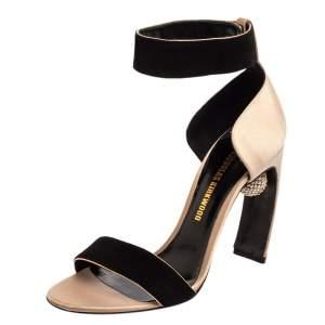 Nicholas Kirkwood Black/Beige Satin And Suede Crystal Embellished Ankle Strap Sandals Size 37