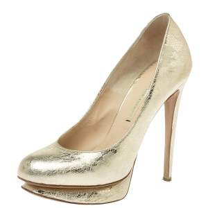 Nicholas Kirkwood Metallic Gold Floral Textured Leather Round Toe Platform Pumps Size 36.5