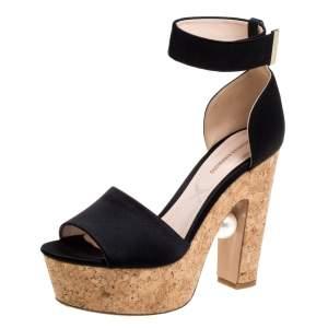 Nicholas Kirkwo Black Satin Pearl Embellished Cork Platform Sandals Size 39