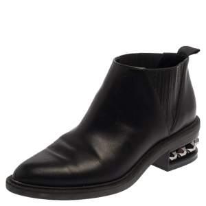 Nicholas Kirkwood Black leather Suzi Studded Ankle Boots Size 39