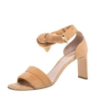 Nicholas Kirkwood Beige Suede Ziggy Ankle Strap Sandals Size 38
