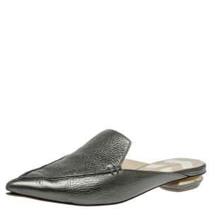 Nicholas Kirkwood Green Leather Beya Flat Mules Size 36