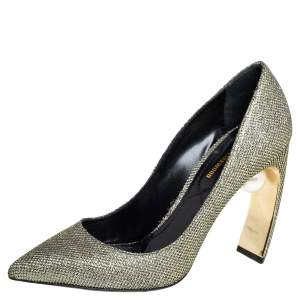 Nicholas Kirkwood Gold Glitter And Lurex Pointed Toe Block Heel Pumps Size 38